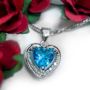 Jewelry - Stunning Blue Austrian Crystal Heart Necklace